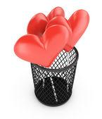Hearts in bin — Stock Photo