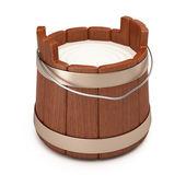 Wooden bucket with milk — Stock Photo