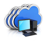 Desktop computer and clouds — Stock Photo