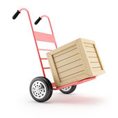 Hand cart and wooden box — Stock Photo