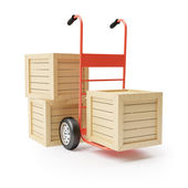 Hand truck and wooden boxes — Stock Photo