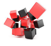 Black and red falling cubes — Stock Photo
