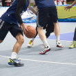 Competitions on amateur street basketball. — Stock Photo