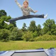 Stock Photo: The young gymnast carries out jumps on a trampoline