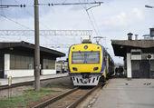 Electric train at platform at station — Stock Photo