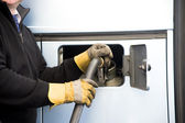 Filling with fuel in big, the lorry — Stock Photo