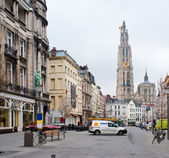 Antwerp. View of the Cathedral of the Sacred Mother of God. — Stock Photo