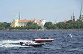 Races on sportboats in Riga, Latvia — Stock Photo
