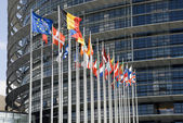 Europarliament. Flags of the countries of the European Union. — Stock Photo