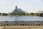 Riga.  View on national library and the bridge. — Stock Photo