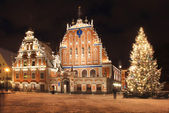 Riga. House Black-headed on New Year's Eve. — Stok fotoğraf