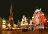 Riga, the town hall area, Sacred Peter's church and the house Bl — Stock Photo