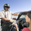 Cop Checking Woman's License — Stock Photo #21784907