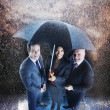 Businesspeople Under One Umbrella - Stock Photo