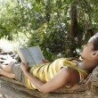 Woman Reading Book In Forest — Stock Photo