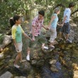 Friends Crossing Stream While Holding Hands — Stock Photo #21786769