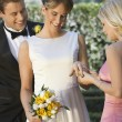 Bride Showing Ring To Her Friend — Stock Photo
