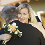 Happy Woman Embracing Man — Stock Photo