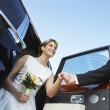 Beautiful Bride Getting Down From Car — Stock Photo
