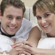 Stock Photo: Happy Newlywed Couple In Bed