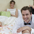 Newlywed Couple Relaxing In Bed — Stock Photo