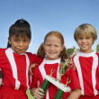 Children With Soccer Ball And Trophy - Stock Photo
