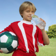 eau potable de football joueur — Photo