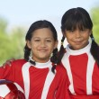 Girl Soccer Players On Field — Stock Photo