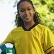 Girl Holding Soccer Ball — Stock Photo #21789791