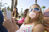 Caucasian Female Eating Chewing Gum — Foto de Stock