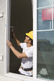 Architect Installing New Window — Stock Photo