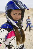 Female Motor Biker At Track — Stock Photo