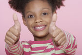 Happy Girl Giving Double Thumbs Up — Stock Photo