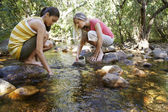 Friends With Hands In Water At Forest Stream — Stock Photo