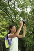 Happy Teenage Girl Photographing Nature — Stock Photo