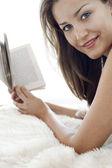 Beautiful Woman Holding Book — Stock Photo