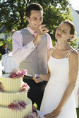 Couple Cutting Wedding Cake — Stock Photo