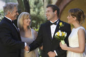 Parents Congratulating Newlywed Couple — Foto Stock