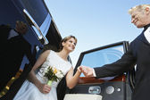 Beautiful Bride Getting Down From Car — Stockfoto