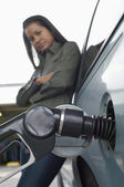 Woman Refueling Car At Gas Station — Stock Photo