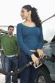Woman Refueling Car Tank — Stock Photo