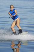 Woman Wakeboarding On Lake — Stock Photo