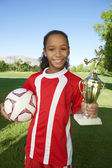 Happy Girl With Trophy — Stock Photo