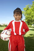 Girl Standing With Soccer Ball — Stock Photo