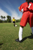 Two Girls Playing Soccer — Stok fotoğraf