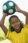 Girl Holding Soccer Ball — Stock Photo