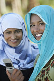 Muslim Women With Mobile Phone — Stock Photo