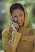 Indian Woman Using Cell Phone — Stock Photo