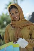 Muslim Woman Holding Shopping Bags — Stock Photo