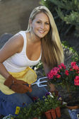 Beautiful Woman Gardening — Stock Photo